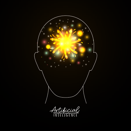 artificial intelligence poster with human head silhouette in transparency over black background with yellow sparkles vector illustration Illustration