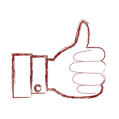 Hand thumb up icon in dark red blurred silhouette vector illustration. Illustration