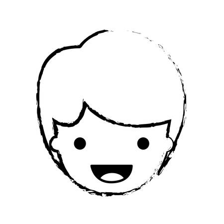 people graphic face of kid with short hair in black blurred contour vector illustration