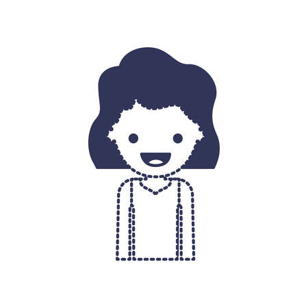 half body people with girl in t-shirt long sleeve and short wavy hair in dark blue silhouette and dotted contour vector illustration