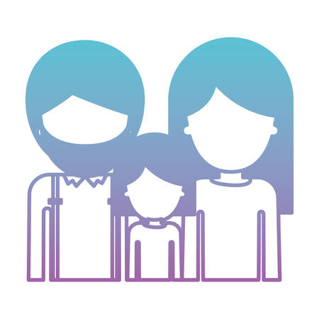 Half body faceless people with man with beard and girl and woman with long straight hair in degraded blue to purple color silhouette vector illustration.