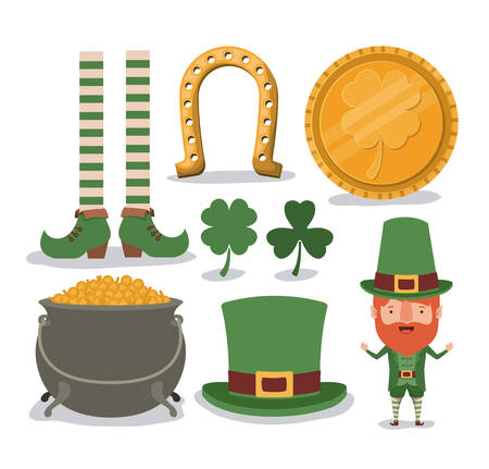 Saint Patrick's day typical elements set in colorful silhouette vector illustration