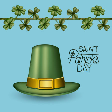 poster saint patricks day with green top hat and climbing plant of clovers in colorful silhouette over light blue background vector illustration Illustration