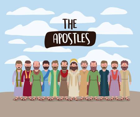 Die Apostel und die Jesus in der belebten Szene in der Wüste in der bunten Schattenbildvektorillustration Vektorgrafik