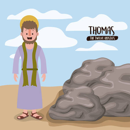 the twelve apostles poster with thomas in scene in desert next to the rocks in colorful silhouette vector illustration