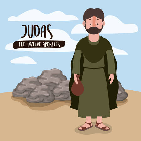 the twelve apostles poster with judas in scene in desert next to the rocks in colorful silhouette vector illustration
