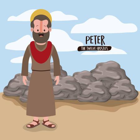 de twaalf apostelen poster met peter in scène in woestijn naast de rotsen in kleurrijke silhouet vector illustratie Stock Illustratie