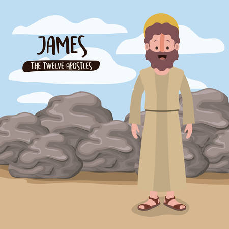 the twelve apostles poster with james in scene in desert next to the rocks in colorful silhouette vector illustration