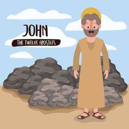 the twelve apostles poster with john in scene in desert next to the rocks in colorful silhouette vector illustration Stock Vector - 94148162