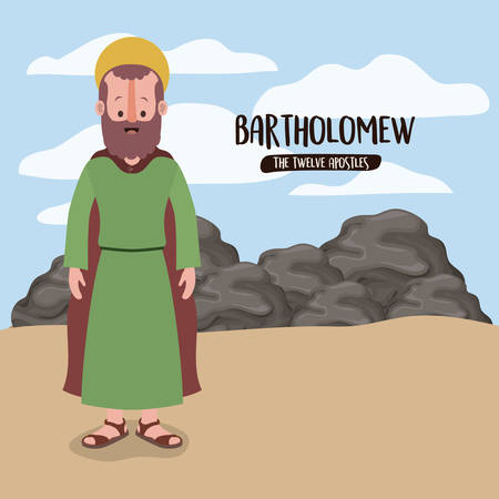 the twelve apostles poster with bartholomew in scene in desert next to the rocks in colorful silhouette vector illustration