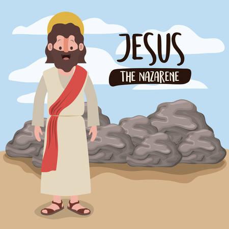 jesus the nazarene in scene in desert next to the rocks in colorful silhouette vector illustration