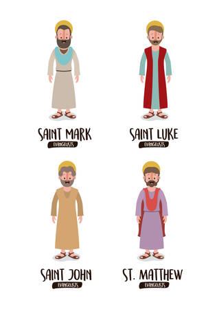 background with the evangelists saint mark saint luke saint john saint matthew in colorful silhouette vector illustration