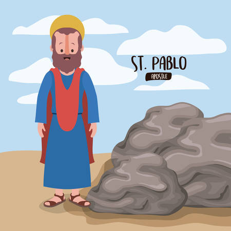 the twelve apostles poster with saint Pablo in scene in desert next to the rocks in colorful silhouette vector illustration