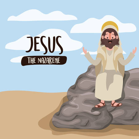 Jesus the Nazarene in scene in desert sitting on the rocks in colorful silhouette vector illustration Illustration