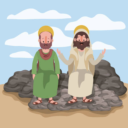 Jesus the Nazarene and Bartholomew in scene in desert sitting on the rocks in colorful silhouette vector illustration