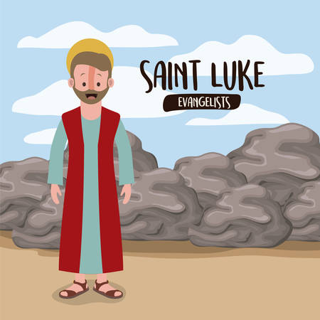 the evangelist saint Luke in scene in desert next to the rocks in colorful silhouette vector illustration Vectores