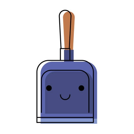 Kawaii hand dustpan top view in colorful watercolor silhouette vector illustration