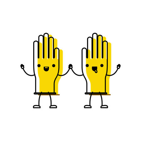 Cartoon pair gloves holding hands in colorful watercolor silhouette vector illustration