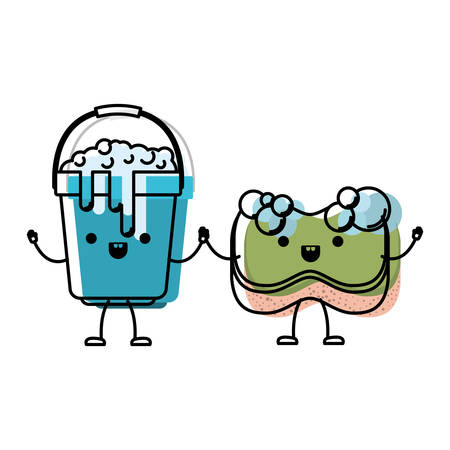 cartoon bucket with soapy water and sponge holding hands in colorful watercolor silhouette vector illustration