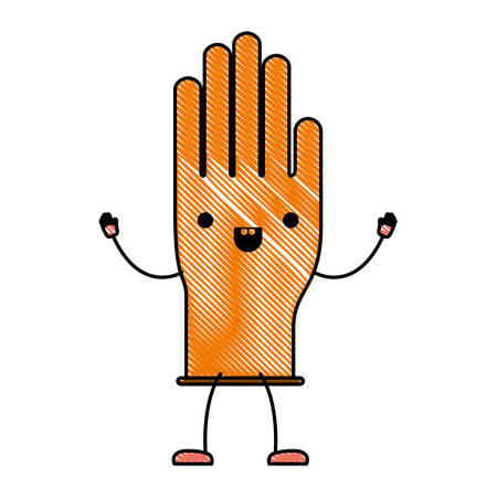 kawaii cartoon single glove in colored crayon silhouette vector illustration