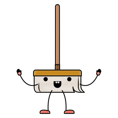 kawaii cartoon broom with wooden stick in colored crayon silhouette vector illustration