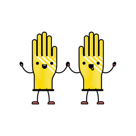 kawaii cartoon pair gloves holding hands in colored crayon silhouette vector illustration