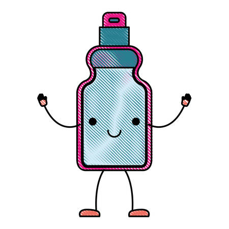 Kawaii cartoon detergent bottle in colored crayon silhouette vector illustration Illustration