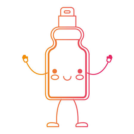 cartoon detergent bottle in degraded yellow to magenta silhouette vector illustration Illustration