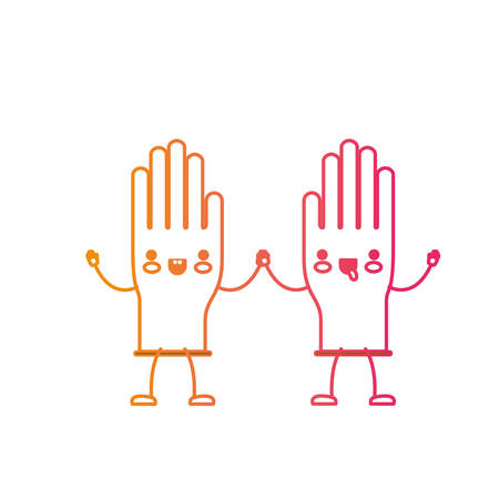 cartoon pair gloves holding hands in degraded yellow to magenta silhouette vector illustration
