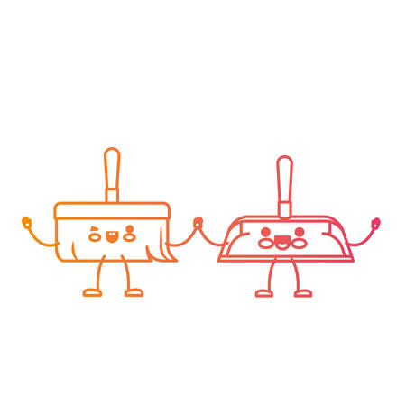 cartoon hand dustpan and hand broom holding hands in degraded yellow to magenta silhouette vector illustration