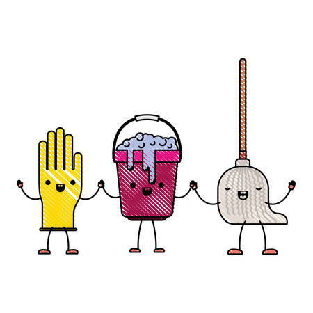 cartoon glove and bucket with soapy water and mop holding hands in colored crayon silhouette vector illustration Illustration