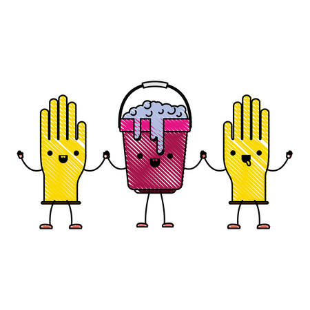 cartoon gloves and bucket with soapy water holding hands in colored crayon silhouette vector illustration