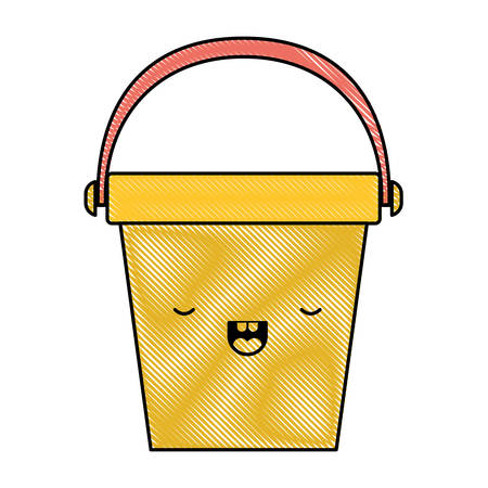 kawaii bucket with handle in colored crayon silhouette vector illustration Stock Vector - 94228315