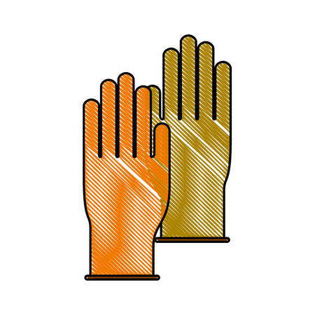 gloves pair in colored crayon silhouette vector illustration Illustration