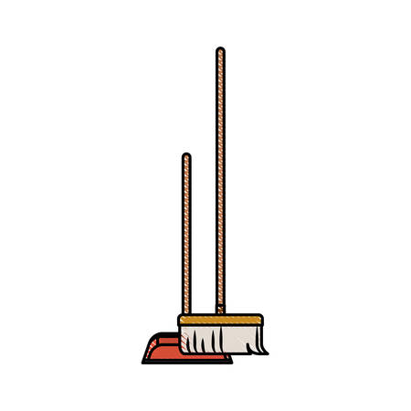 dustpan and broom in colored crayon silhouette vector illustration Illustration