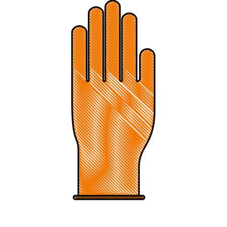 glove icon in colored crayon silhouette vector illustration