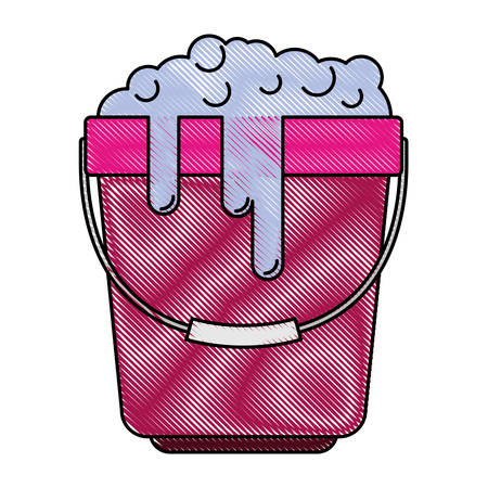Bucket with handle and full of water and soap detergent in colored crayon silhouette vector illustration