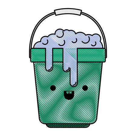 kawaii bucket with handle and full of water with soap detergent in colored crayon silhouette vector illustration