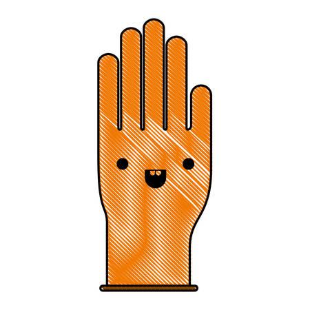 single glove in colored crayon silhouette vector illustration Illustration