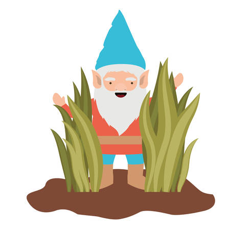 gnome coming out of the bushes on white background vector illustration