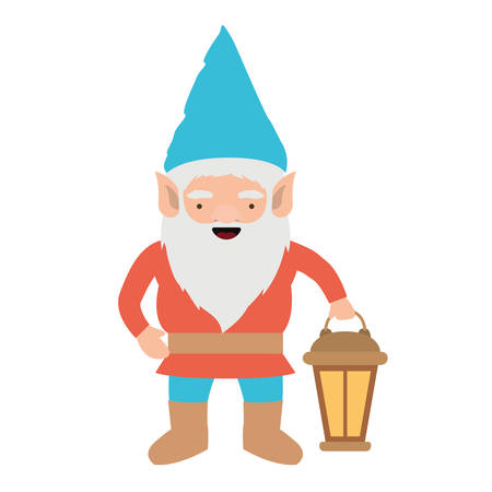 gnome with colorful costume with hand lamp on white background vector illustration