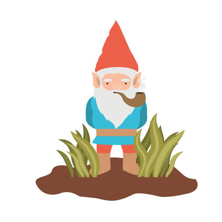 gnome coming out of the bushes with smoking pipe on white background vector illustration
