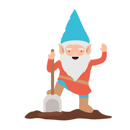 gnome with colorful costume with shovel on white background vector illustration