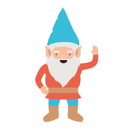 gnome with colorful costume and gesture of greeting on white background vector illustration Ilustracja