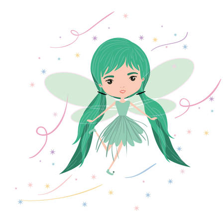 girly fairy flying with wings and pigtails hairstyle colorful sparks and stars on white background vector illustration