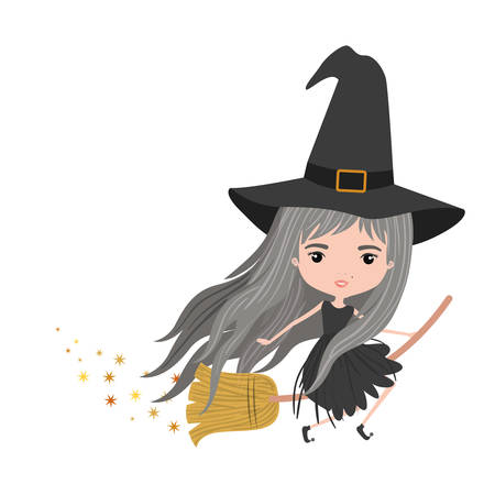 cute witch flying with broom colorful and trace of stars on white background vector illustration