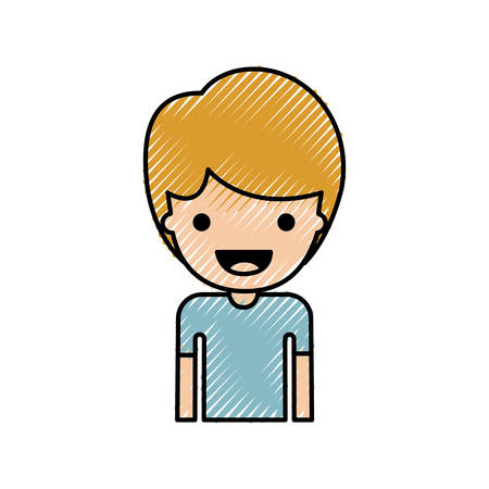 Half body people with boy in t-shirt and short hair in colored crayon silhouette. Vector illustration. Illustration
