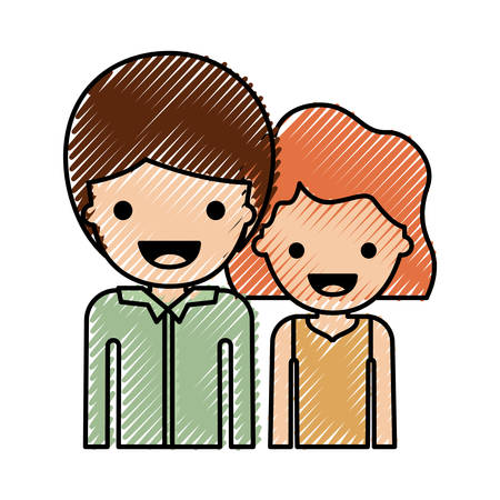 half body people with boy in shirt long sleeve and short hair and girl in t-shirt sleeveless and short wavy hair in colored crayon silhouette vector illustration