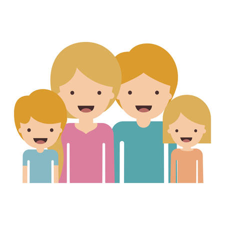Half body people with woman and girl and man and boy with short hair in colorful silhouette without contour. Vector illustration.