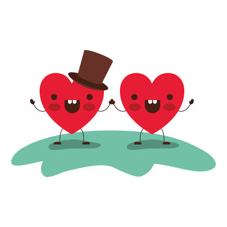 Couple heart character holding hands and him with top hat in cheerful expression. Colorful silhouette vector illustration.